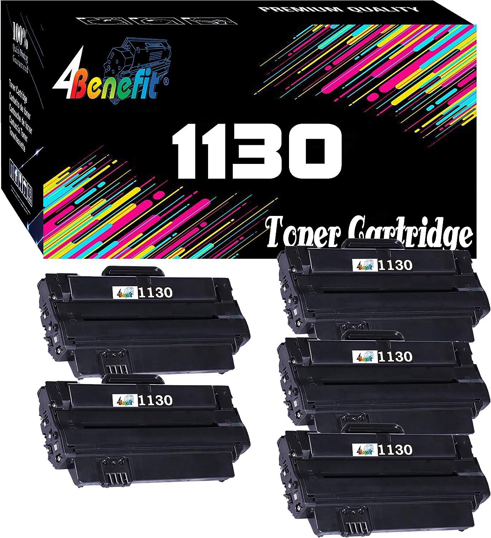 (5 Pack, Black) 4Benefit Compatible 1130 Toner Cartridge (2,500 Pages) for Dell 1130n 1133 1135n Printer