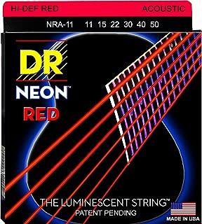 DR Strings Hi-Def NEON Red Coated Medium-Lite Acoustic Guitar Strings (11-50)