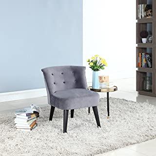 DIVANO ROMA FURNITURE Classic and Traditional Living Room Velvet Fabric Accent Chair with Tufted Details (Grey)