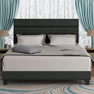 Amolife Queen Size Fabric Upholstered Bed Frame with Headboard, Platform Bed Frame with Strong Wood Slats Support Mattress Foundation, No Box Spring Needed, Dark Grey
