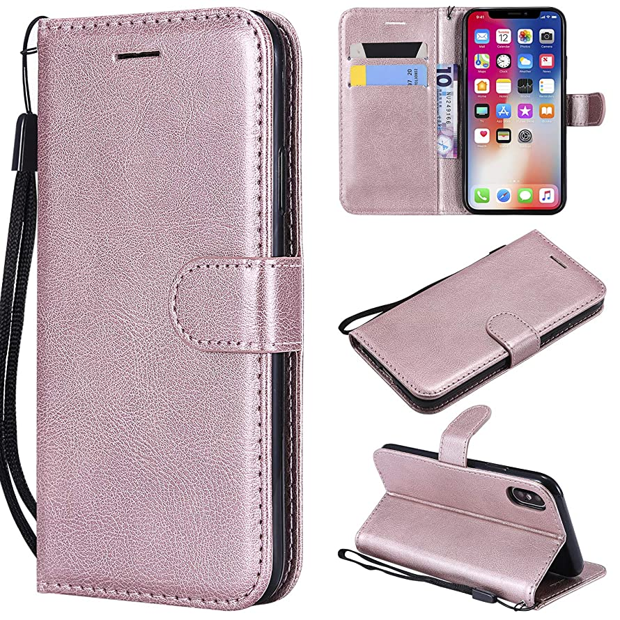 Gostyle Flip Wallet Case for iPhone X, iPhone X Premium PU Leather Case with Credit Card Holder,Retro Book Style Stand Cover with Magnetic Closure Hand Strap-Rose Gold