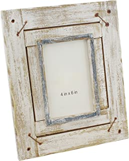 Old River Outdoors Rustic Distressed Whitewash Wood Picture Photo Frame - Table Top 4x6 Shabby Chic