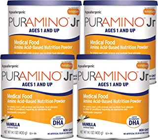 PurAmino Junior Hypoallergenic Vanilla Toddler Drink Powder for Severe Food Allergies, 14.1 ounce (Pack of 4) - Omega 3 DH...