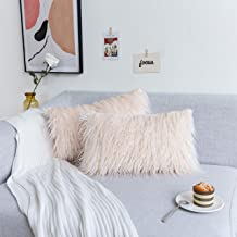 Kevin Textile Luxury Soft Plush Faux Fur Throw Cushion Cover Decorative Mongolian Fur Pillow Case for Couch/Chair, 2 Pc, 1...