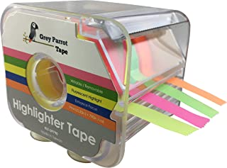 GreyParrot Tape Fluorescent Neon Highlighter Tape Removable, (4 Colors Pack), 0.35in(9mm) x 790in Per Roll, Office/Craft Tape/Yellow, Orange, Green, Pink