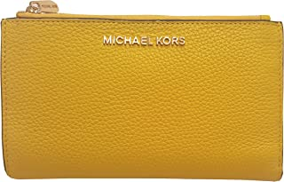 77e5438e0290 Michael Kors Jet Set Travel Double Zip Wristlet Leather Wallet 7-8 Citrus