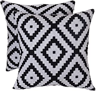 Bridgeso Euro Geometric Pillow Covers Minimalist Embroidery Home Décor Throw Pillow Cases for Sofa Bed Couch, 18