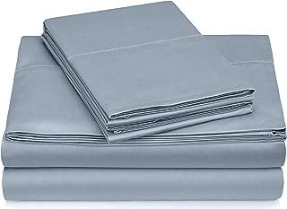 Pinzon 400 Thread Count Egyptian Cotton Sateen Hemstitch Sheet Set - Queen, Dusty Blue