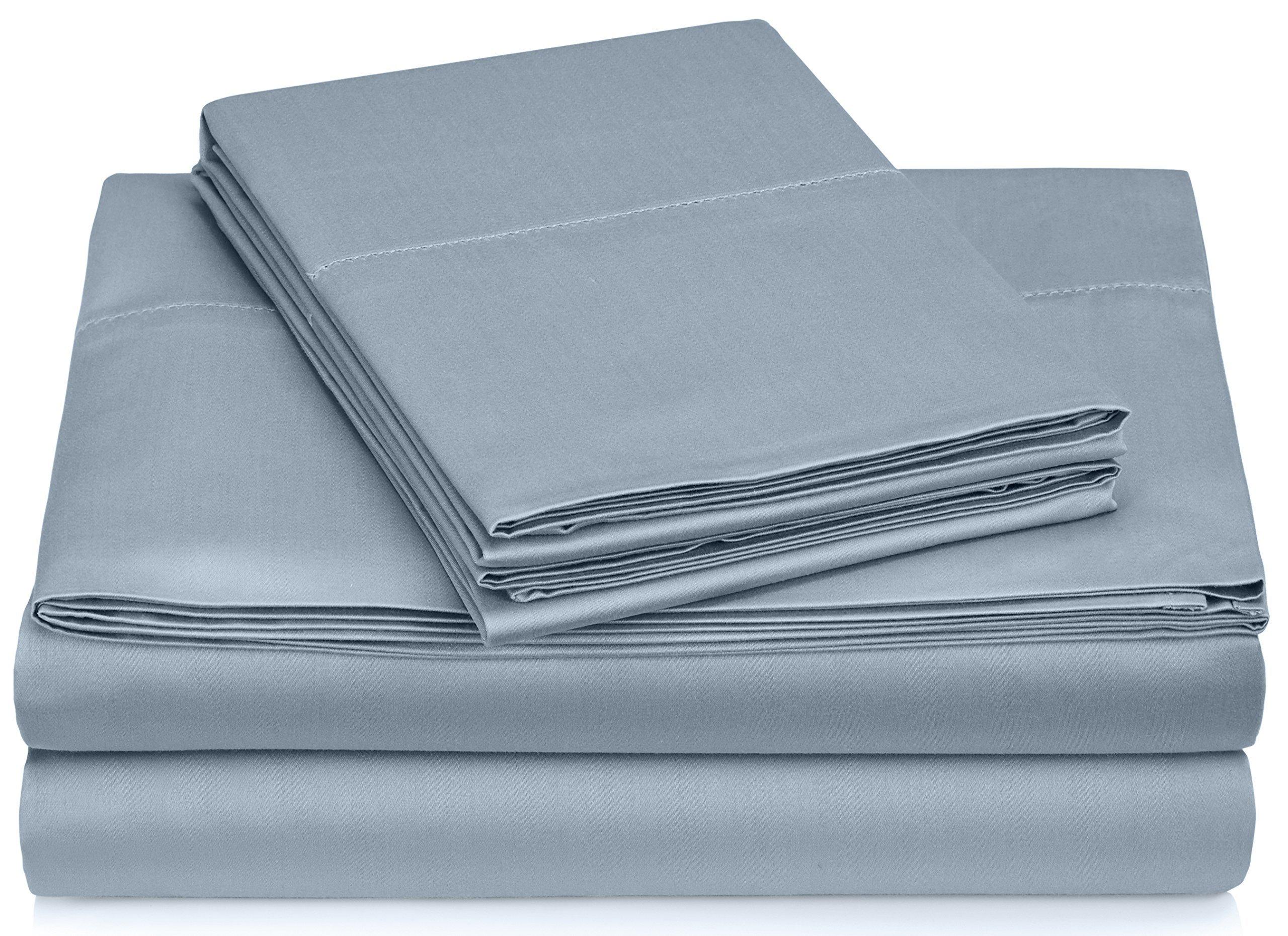 Pinzon Hemstitch 400TC Egyptian Cotton Sateen Sheet Set, Queen, Smokey Blue