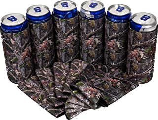 QualityPerfection - Slim Can Cooler Sleeve - Beer Skinny 12 oz Neoprene Coolie - Perfect For 12 oz Slim Red Bull, Michelob Ultra, Spiked Seltzer,Truly - Great For Any Event (6, Camo Forest)