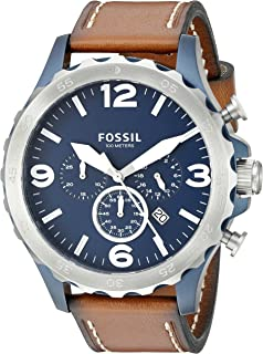 Fossil Nate Men's Navy Blue Dial Men's Leather Chronograph Watch - JR1504