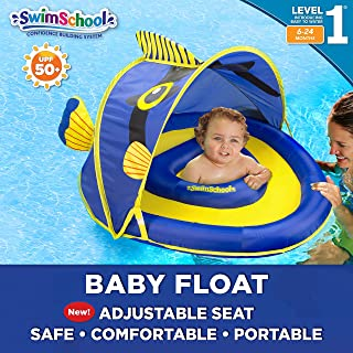 SwimSchool Angel-The-Fish Fabric Baby Boat, Splash & Play, Adjustable Safety Seat, Extra-Wide Inflatable Pool Float