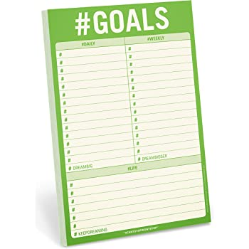 Knock Knock #Goals Pad, To Do List Note Pad, 6 x 9-inches