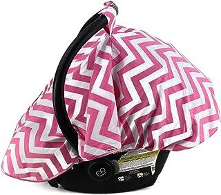 Dear Baby Gear Car Seat Canopy, Mosquito Netting Bug and Sun Shield, Pink Horizontal Chevron