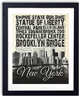 New York Skyline With Landmarks Typography (#2) Upcycled Vintage Dictionary Art Print 8x10