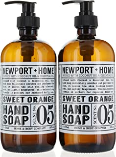2 Bottles, Newport + Home Hand Soap, Sweet Orange 16 oz/473ml Infused w/Coconut Oil & Essential Oil by Home and Body Co