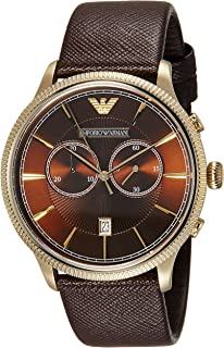 Emporio Armani Mens Quartz Watch, Chronograph Display and Leather Strap AR6012
