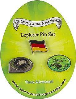 Spartan and the Green Egg Explorer Pins & Flag Set: Germany - Set # 1. Goseck Circle, Black Forest, German Flag