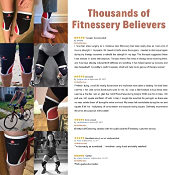 Fitnessery Knee Sleeves for Crossfit, Powerlifting, Weightlifting and Knee Support - 7mm Knee Sleeves - Knee Sleeves ...