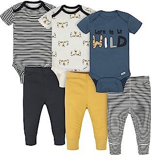 Onesies Brand baby-boys 3 Onesies 3 Pants Outfit Bundle Mix N Match Newborn to 12m