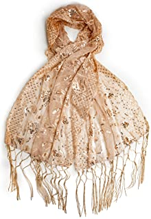 Amaryllis Shawl, Sequin Evening Wrap, Embroidered Sequin Shawl