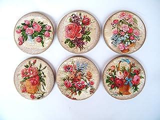 Posavasos Florales de Madera, Juego de 6 Redondos Posavasos, Salvamanteles, Protectores de Mesa, Decoración de Comedor, Co...