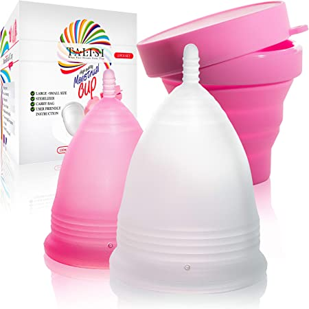 Talisi Reusable Menstrual Cups Set of 2 with Collapsible Silicone Foldable Sterilizing Cup - Tampon and Pad Alternative - Menstruation Feminine Period Cup for Regular and Heavy Flow with Sterilizer