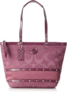 Coach Signature Stripe Berry Sateen Studded Tote Bag 20014