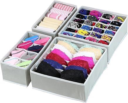 Simple Houseware Closet Underwear Organizer Drawer Divider 4 Set, Gray