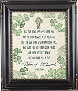 Cottage Garden Palm of His Hand Irish Blessing Black Rope Trim 8 x 10 Table Top and Wall Photo Frame