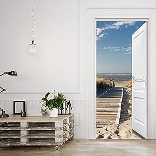 murimage Papel Pintado Puerta Mar 3D 86 x 200 cm Incluyendo Pegamento océano Playa Duna Paseo marítimo Sala de Estar Foto Mural