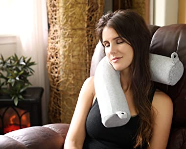 Twist Memory Foam Travel Pillow for Neck, Chin, Lumbar and Leg Support - for Traveling on Airplane, Bus, Train or at Home - B
