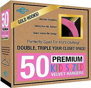 كلوزيت مقاس كامل للأطفال: شماعات مخملية ثقيلة الوزن، رفيعة جدا، موفرة للمساحة 50 71810