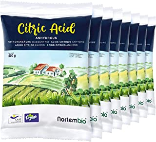 Nortembio Ácido Cítrico 4 Kg (8x500g). Polvo Anhidro, 100% Puro. para Producción Ecológica. E-Book Incluido.
