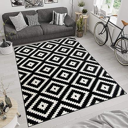 Tapis De Salon Moderne Collection Marocaine   Couleur Noir Blanc Motif  Géométrique Treillis   Meilleure Qualité
