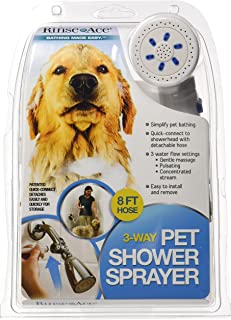 Rinse Ace 3 Way Pet Shower Sprayer with 8 Foot Hose and Quick Connect to Showerhead