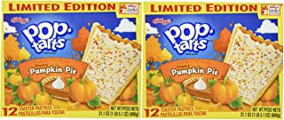 Kelloggs Pop-Tarts (2 PACK)-LIMITED EDITION 24 Pumpkin Pie Toaster Pastries, 2 BOXES (Each Box Contains 12 Pastries) - Each Box is 21.1 oz)