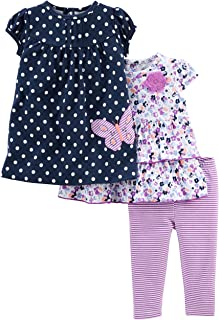 Simple Joys by Carter's Baby Girls' 3-Piece Short-Sleeve Top, Dress, and Pants Playwear Set