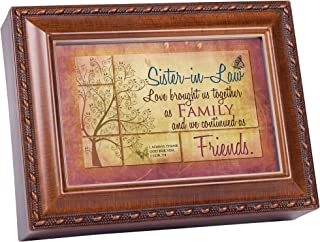 Cottage Garden Sister-in-Law Love Brought Together Woodgrain Rope Trim Jewelry Music Box Plays Friend in Jesus