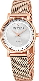 Stuhrling Original Women's Quartz Watch with Silver Dial Analogue Display and Rose Gold Stainless Steel Bracelet 734LM.05