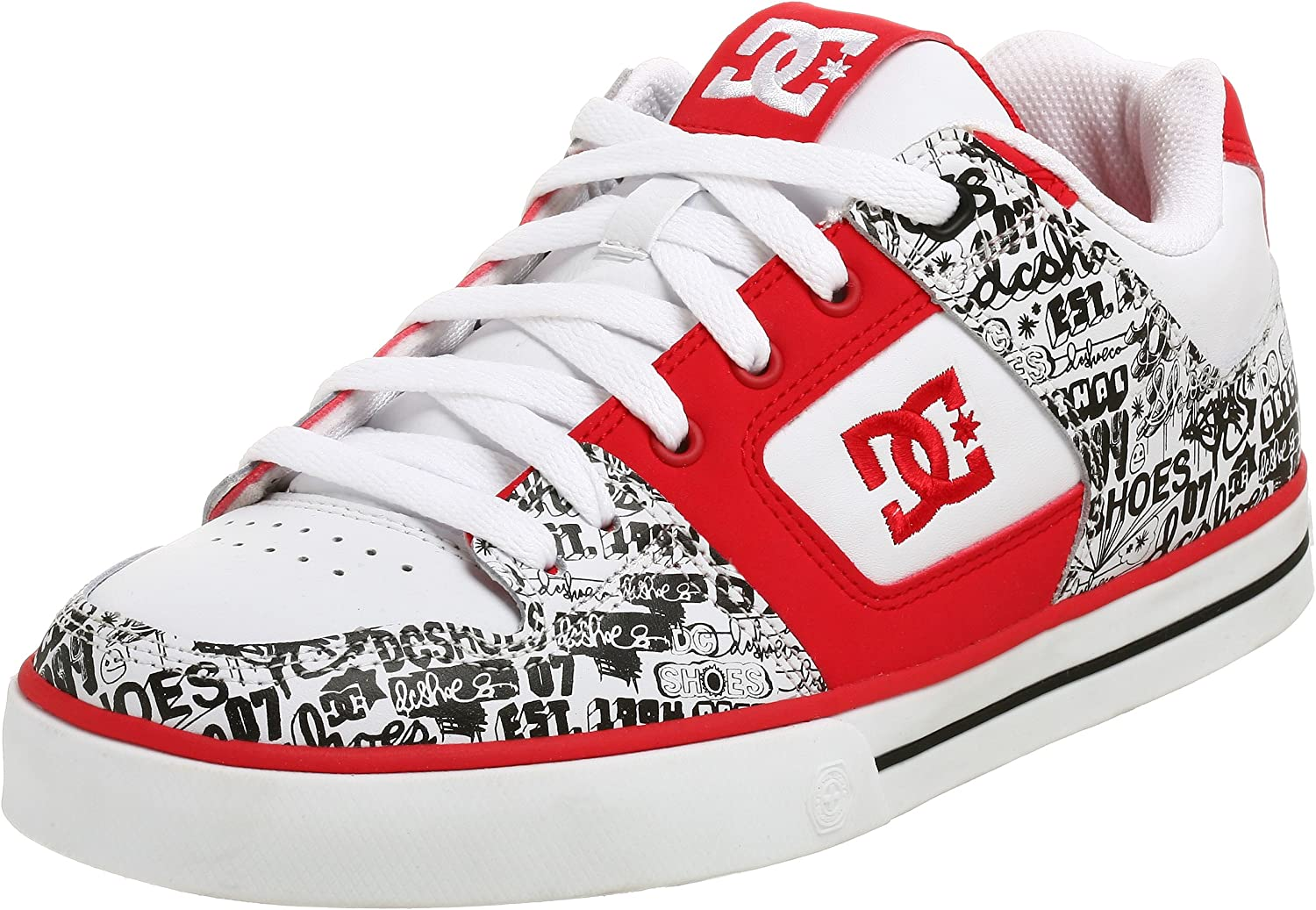 DC Men's Pure XE Sneaker,White Athletic Red,7.5 M