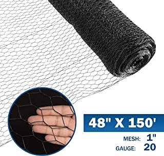 Fencer Wire 20 Gauge Black Vinyl Coated Poultry Hex Netting with 1 inch Mesh (4 ft. x 150 ft.)