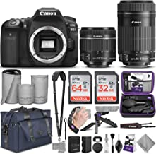$1348 » Canon EOS 90D DSLR Camera and Canon EF-S 18-55mm f/3.5-5.6 is STM + EF-S 55-250mm f/4-5.6 is STM Lens with Altura Photo Complete Accessory and Travel Bundle