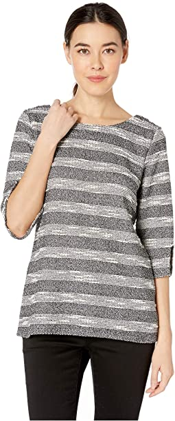 3/4 Sleeve Split Heavy Gauze Knit Top