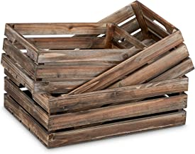 Barnyard Designs Rustic Wood Nesting Crates with Handles Decorative Farmhouse Wooden Storage Container Boxes, Set of 3, 16...