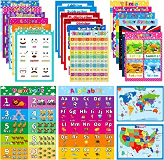 HOUMESO 22 Pack Educational Preschool Learning Posters for Toddler, Teacher Homeschool Supplies - Classroom Décor, Learnin...