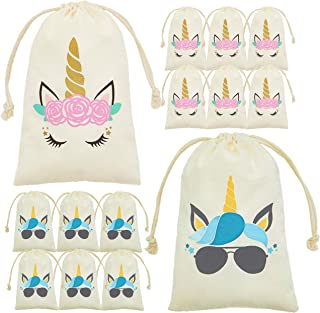 My Greca Unicorn party bags supplies - 12 party favor bags for treats, gifts and candy. Drawstring goodie bags for boys and girls birthday party