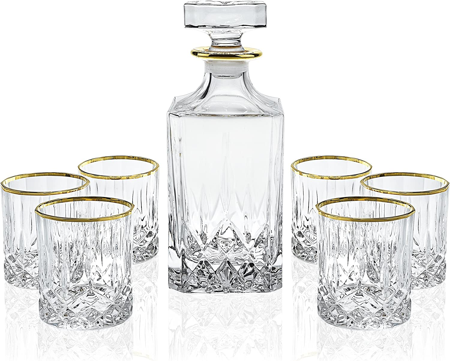 Elegant Manhattan Style Crystal Liquor Whiskey And Wine Decanter Set Irish Cut 7 Piece Set 1 Decanter 6 Old Fashioned 6 Oz Dof Glasses With 24k Gold Trim Amazon Co Uk Kitchen Home