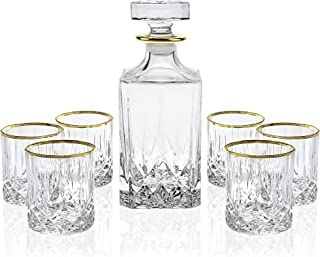 Elegant Manhattan Style Crystal Liquor Whiskey and Wine Decanter Set. Irish Cut 7 Piece Set 1 Decanter. 6 Old Fashioned 6 Oz DOF Glasses with 24k Gold Trim (Manhattan Style)