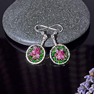 Handmade Watermelon Tourmaline Circle Earrings Sterling Silver Pink Jewelry